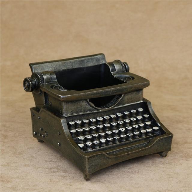 Creative Typewriter Model Pen Holder Decorative Resin Vintage