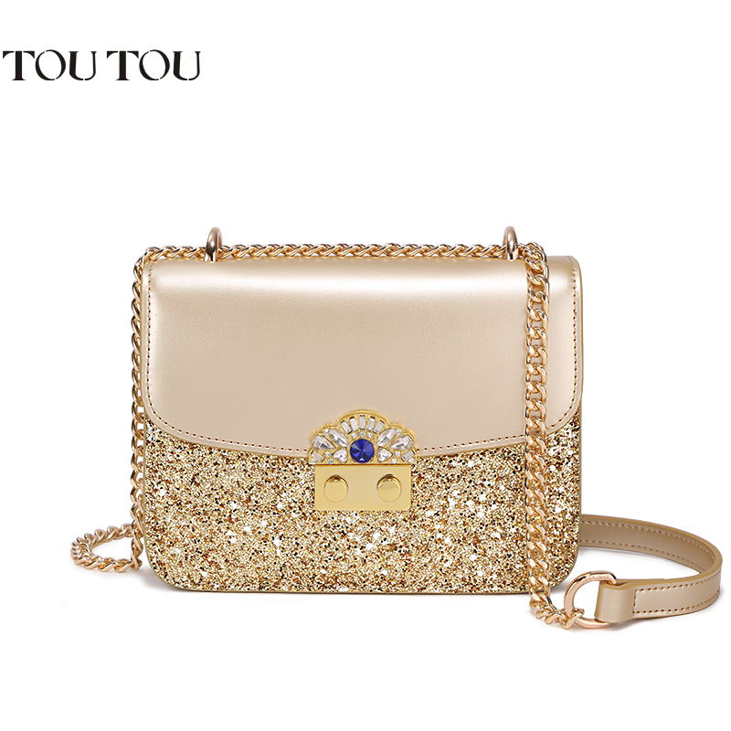 TOUTOU Mini women bag 2018 new flap joker contracted sequins lock chain bag High quality fashion shoulder bag Free shipping free shipping 2014 boom bag leisure contracted one shoulder bag chain canvas bag page 2