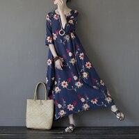 Plus Size Women Maxi Dress Embroidery Summer 2017 Loose O Neck 3 4 Sleeve Long Maxi