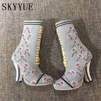SKYYUE New Floral Embroidery Sock Boots Knit Striped Wooden Heel Women Boots Gladiator Lace Up Round Toe Shoes Women