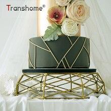 Transhome soporte de torta Vintage oro postre Rack de mesa de postres de boda decoración cumpleaños forma geométrica pastel bandeja