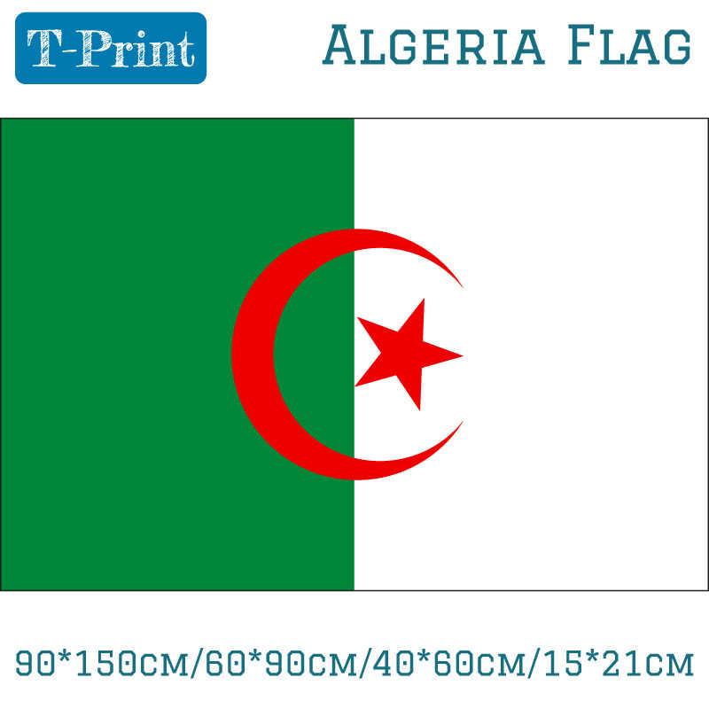 แอลจีเรียธงแบนเนอร์ 3x5ft 90*150 เซนติเมตร/60*90 เซนติเมตร/40*60 เซนติเมตร/ 15*21 เซนติเมตรแอลเจียร์ธงสำหรับ World Cup National Day โอลิมปิกเกม