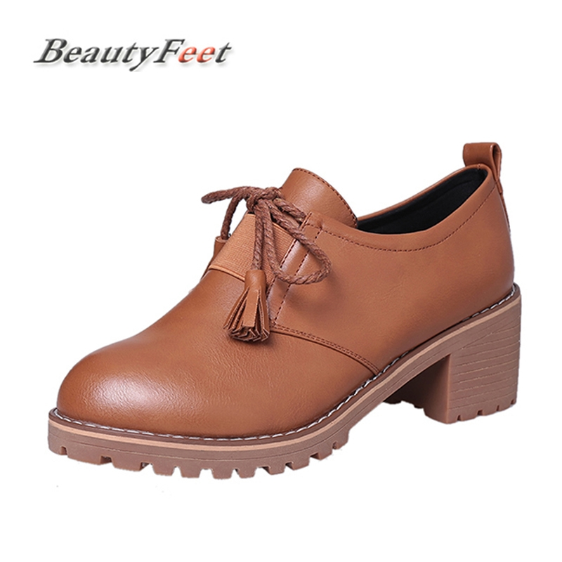 Platform Shoes Woman Thick Heels Oxford Shoes For Women Leather Creepers Casual Oxfords Black Brown Flats Women Shoes BeautyFeet hee grand solid patent leather women oxfords british new fashion platform flats casual buckle strap ladies shoes woman xwd5833