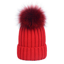 e2c287c0bb2 New Autumn Winter Women Cap Real Raccoon Fur Ball Hat Poms 15CM Knitted Cap  Female Thick Protect Ear Warm Hat Macka Oxota Sitka