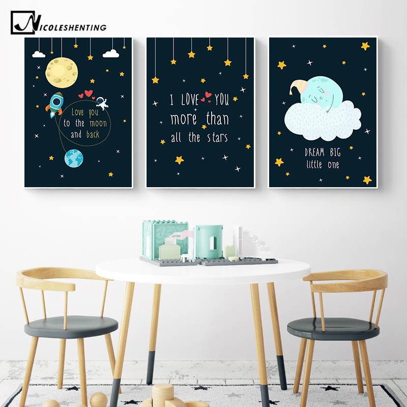 Rocky Space Nursery Quotes Child Poster Canvas Art Decorative Print Wall Painting Decoration Picture Nordic Kid Baby Room Decor Painting Calligraphy Aliexpress