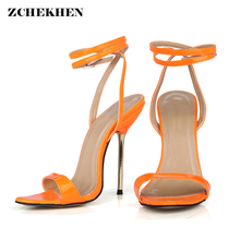 Women Summer candy color High Heel Sandals metal thin Shoes Woman Ankle Strap Buckle Sandal size 35-43