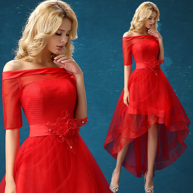 Ensotek New Red Off-the-Shoulder High Low Flowers Lace Fashion Party   Cocktail     Dresses   Prom   Dress   Banquest   Dress   Vestidos