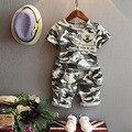 Bebés meninos meninas roupas de camuflagem define crianças manga curta t-shirt e calções estilo verão 2016 crianças 2 - 7 anos roupas terno