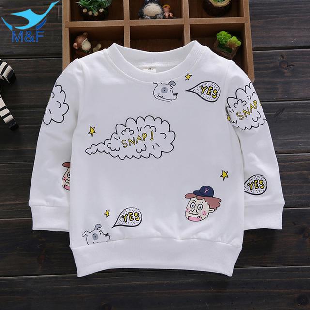 M & f niños lindos abrigos otoño 2016 algodón para niños de dibujos animados bebé girls and boys clothing soft manga larga camisetas prendas de vestir exteriores