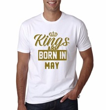 Retro 100% Cotton Prin T Shirt Tee Fashion Short O-Neck Mens Kings Are Born In May Shirts