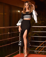 Hot Ladies Sexy Off Shoulder 2 Piece Bandage Dress 2018 Ladies Knitted Charming Bodycon Bandage Dress Q 123