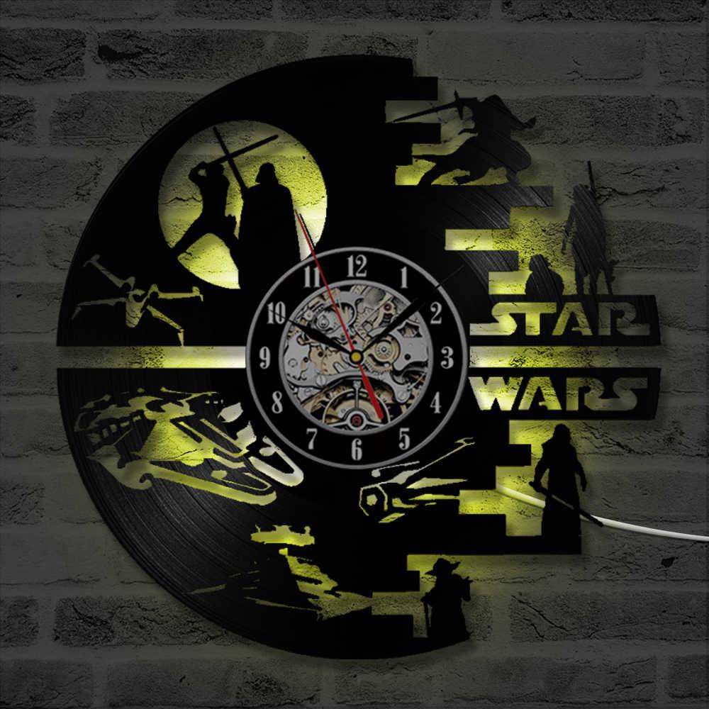 Star War Dòng Ghi Lại Đồng Hồ Treo Tường Sáng Tạo Thạch Anh Im Lặng Handmade CD Vinyl Antique Hollow LED Treo Đồng Hồ Đồng Hồ Trẻ Em Món Quà LED ligth
