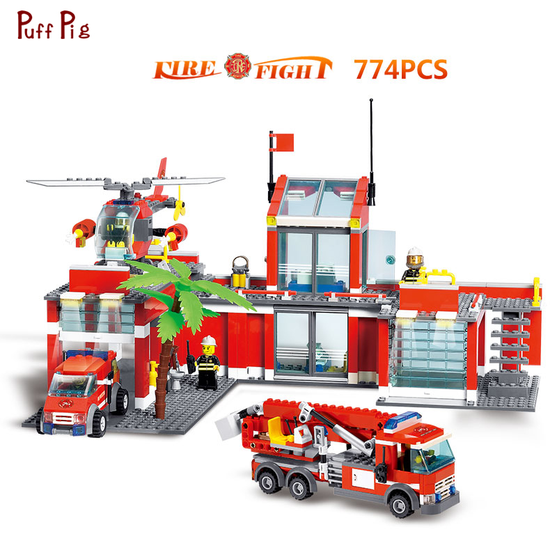774pcs Fire Station Firefighters Rescue Truck Helicopter Building Blocks Compatible Legoed Police Educational Bricks Toy For Kid fire station 845pcs building blocks compatible legoingly fire truck firefighters fire building brick set stitching children toy