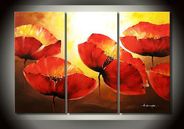 Large Red Poppy Flower 3 Piece Canvas Wall Art Abstract