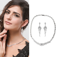 Fashion Vintage Design Dubai Trendy Long Tassel Earrings for Women Wedding Bridal Jewelry Zirconia Crystal Necklace and Earrings