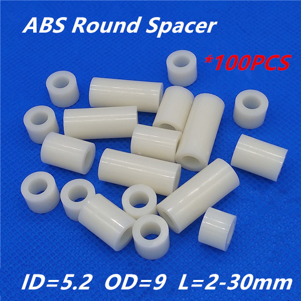100pcs M5 White Nylon ABS Round Hollow Non-Threaded Standoff Spacer PCB Board Screw Bolt Long Washer ID=5.2 OD=9