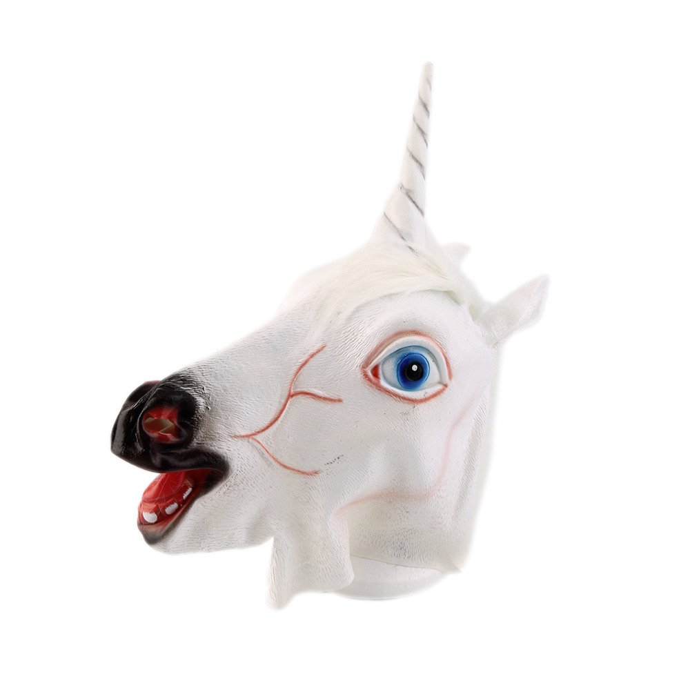 2017 New Arrival Funny Halloween White Unicorn Horse Head Mask Latex for a Crazy Cosplay Party Costume Dress Mask Supplies