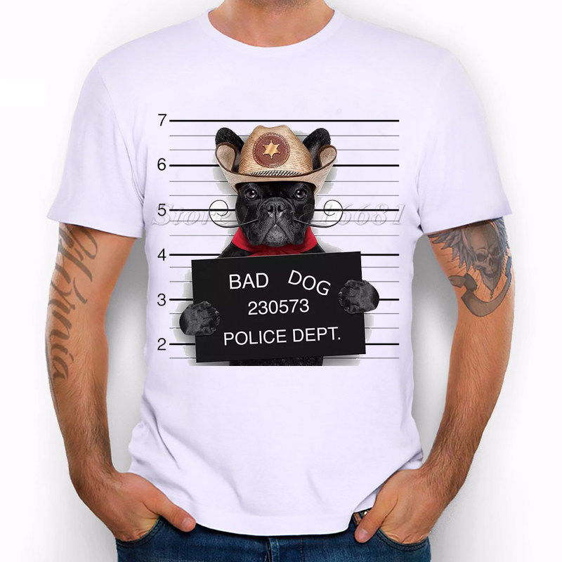Wanted Bad Dogs Mugshot - Mr French Bulldog Xeriff Funny Joke Men T Shirt Tee
