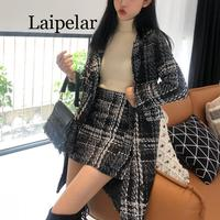 Laipelar women black white plaid tweed button coat mini skirt zipper pencil 2 two pieces set elegant winter notch collar