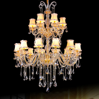 modern crystal fabric shade chandelier luxury crystal and fabric chandelier for hotel saloon led contemporary gold chandelier
