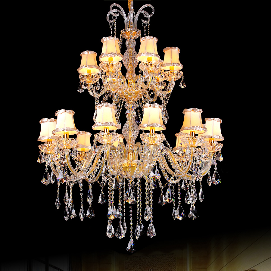 Modern crystal fabric shade chandelier luxury crystal and fabric modern crystal fabric shade chandelier luxury crystal and fabric chandelier for hotel saloon led contemporary gold chandelier in chandeliers from lights arubaitofo Gallery