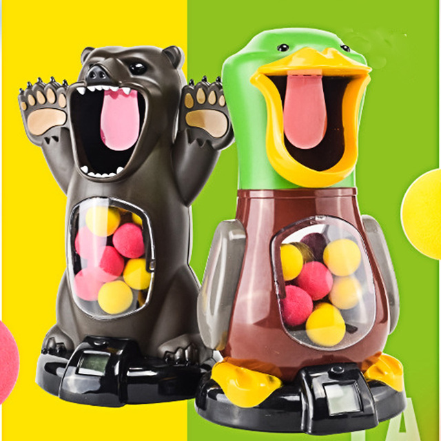 Air Pump Shoot Hungry Duck Electronic Scoring Dynamic Music EVA Foam Ball Funny Novel Toys For Children and Adult Shooting Angry Lion Bear