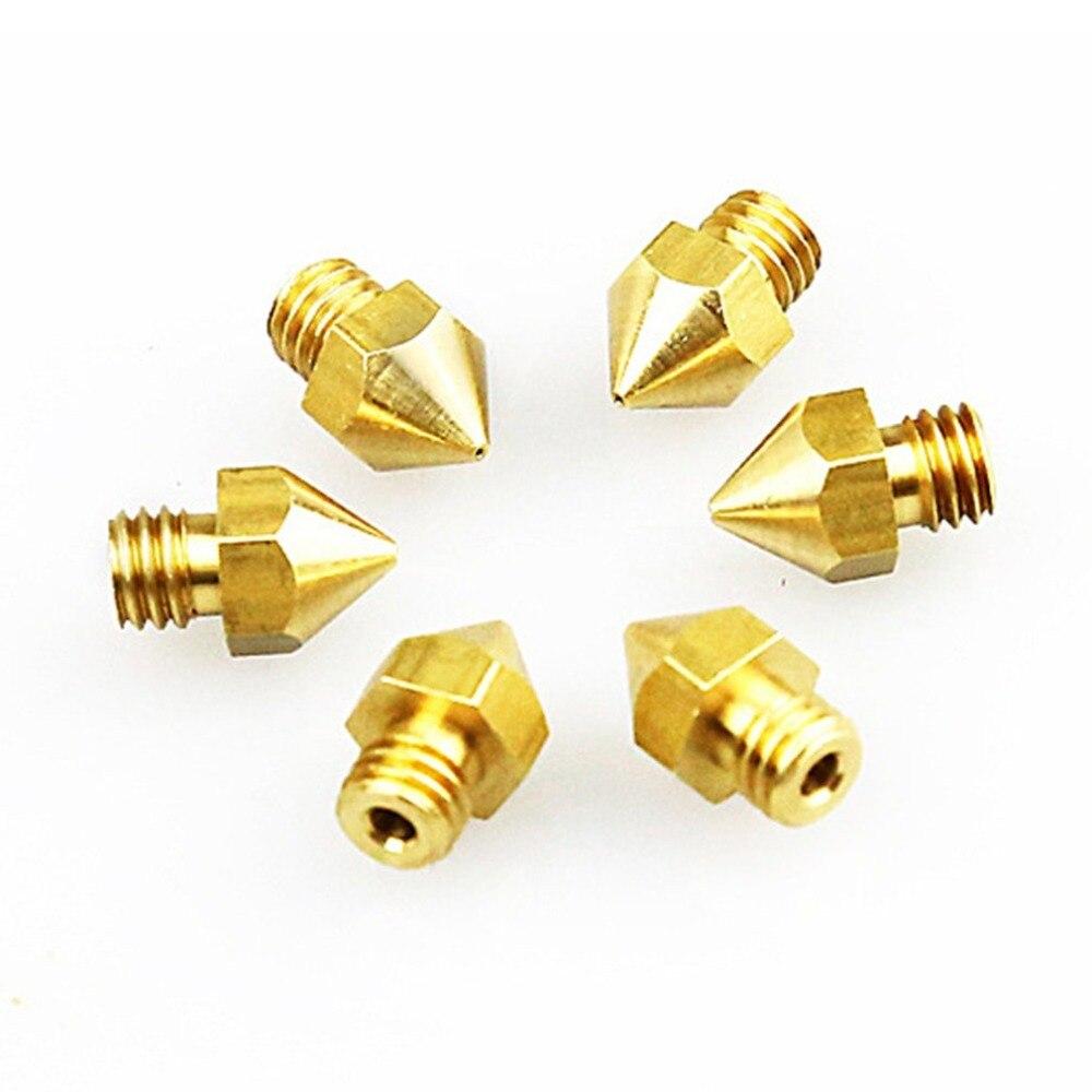 Anet 3d Printer Nozzles 5pcs 0.2/0.3/0.4/0.5mm Mixed M6 Extruder MK8 Copper Nozzle For A6 A8 E10 E12 Reprap I3 3D Accessories