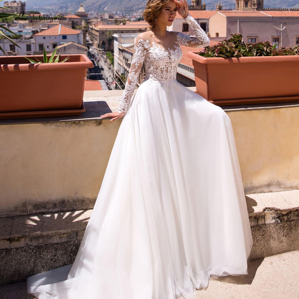 Lakshmigown Bohemian Wedding Dress Long Sleeve 2019 Robe Mariage White Tulle Bridal Dress A Line Lace Applique Wedding Gown
