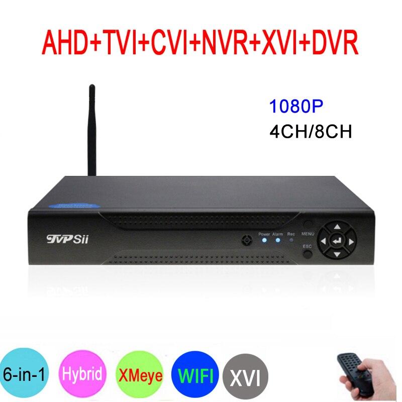 Hi3521A XMeye 8CH/4CH 1080 P Full HD видеонаблюдения Видео регистраторы 6 в 1 Гибридный Wi Fi Onvif NVR TVI CVI AHD DVR Бесплатная доставка