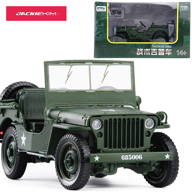 1:18 Tactical Military Model Old World War II Willis Military Vehicles Alloy Car Model For Kids Toys Gifts Free Shipping
