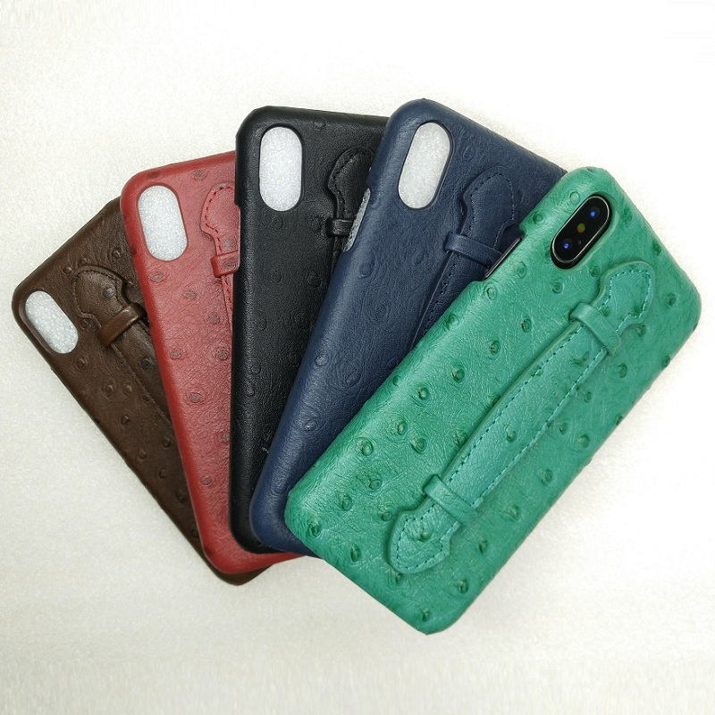 Solque Mobile Phone Cases For iPhone XS X 10 Real Genuine Leather 3D Ostrich Hand Strap Holder Case Luxury Ultra Thin Back Cover mobile phone