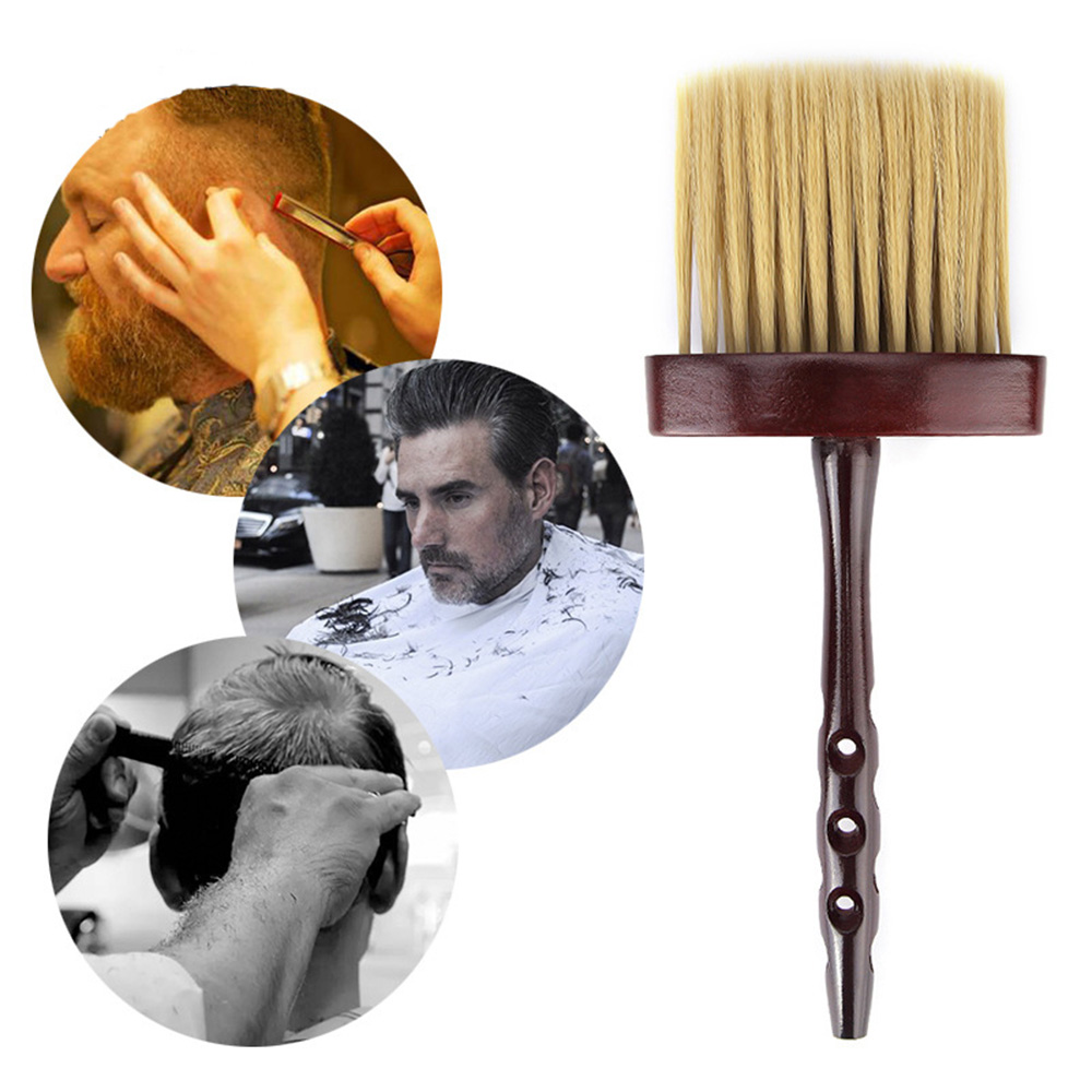1Pc Hair Cutting Soft Neck Brush Face Duster Dispenser Brushes Hair Brush Hairdresser Salon Wooden Handle Styling Tools