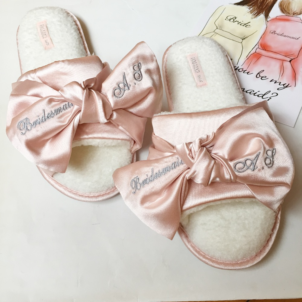 Free Shipping 1 pairs lot Personalized Bridesmaid gifts Dark Blue Pink Satin Custom name wedding slippers bride