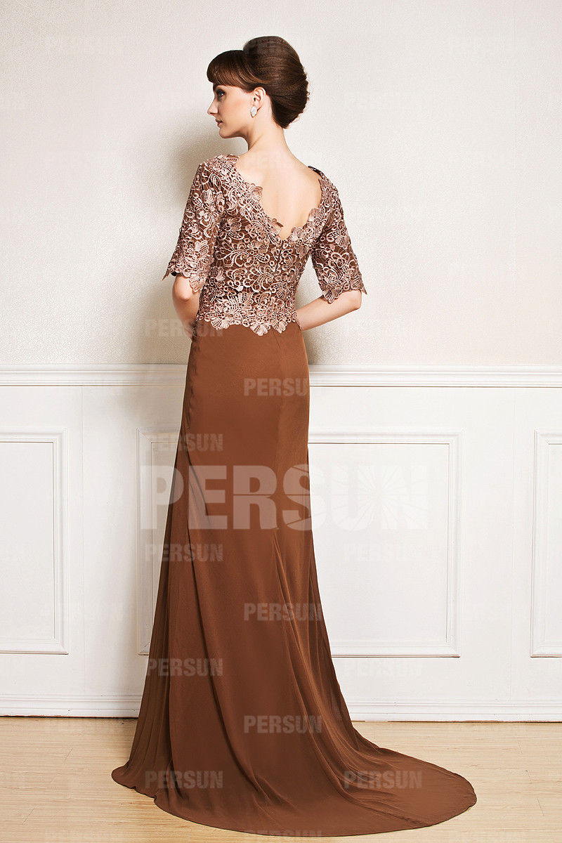 2015 New Half sleeve V neck Brown Wedding guest dress with lace bodice with Sweep  train Long Monther Of the Bridesmaid Dress-in Mother of the Bride Dresses  ... deb1fe2f4726