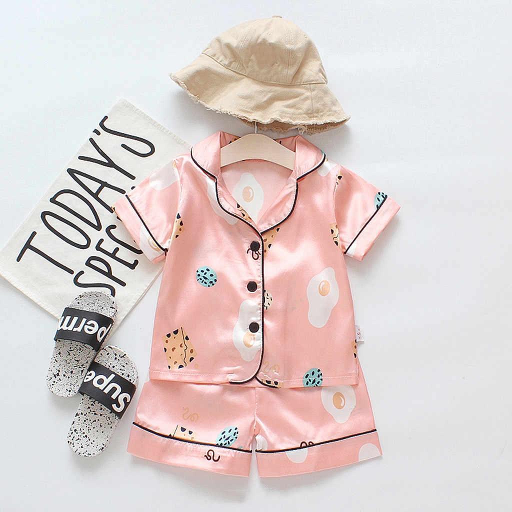 Pyjamas Kinder Kleinkind Baby Jungen Mädchen Cartoon Pyjamas Nachtwäsche T Hemd Shorts Kleidung Set Kinder Nachtwäsche Kinder Pyjamas Sets