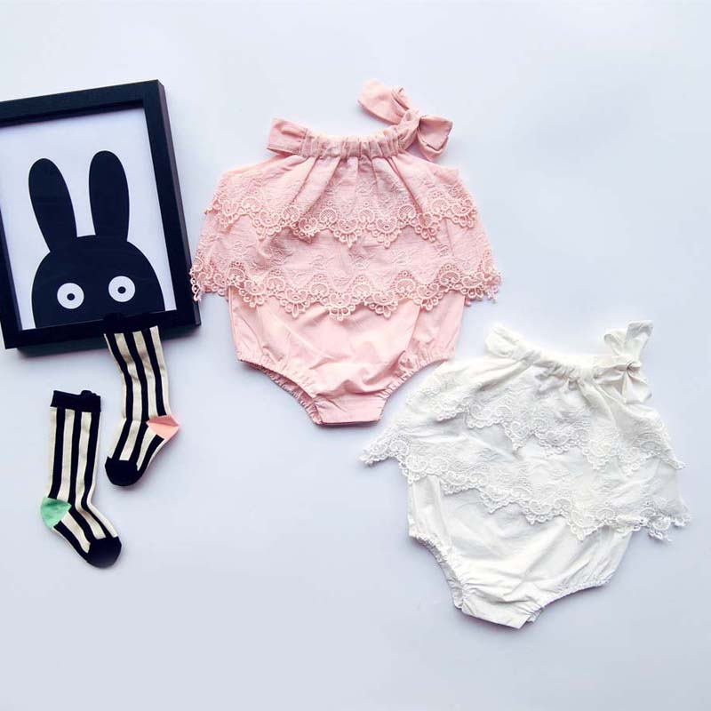 0-1-2yrs Korean Sweet Baby Girl Rompers Princess Toddler Lace Overalls Birthday Clothes