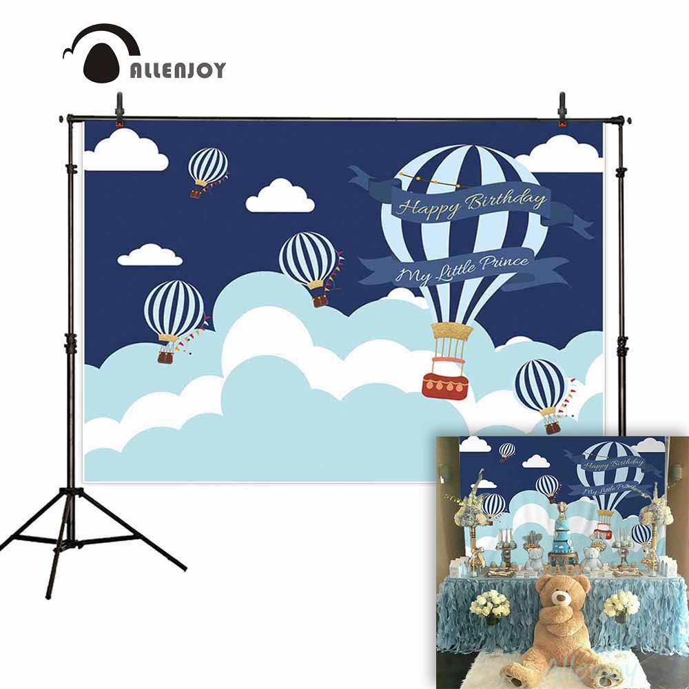Allenjoy kids background for photography happy birthday little prince hot air balloon backdrop newborn baby customize photocall