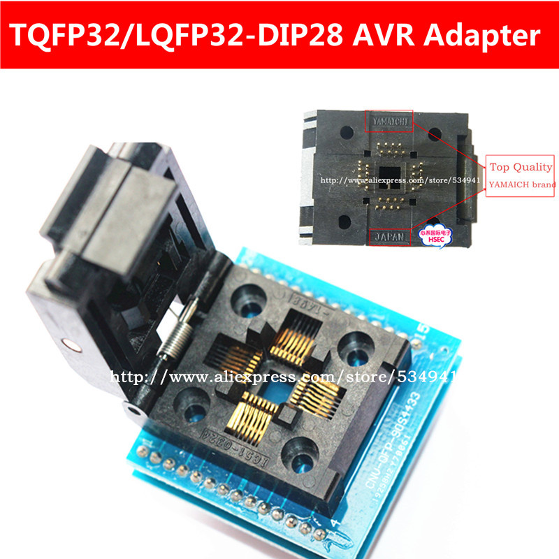 Free Ship Top Quality Cold Adapter TQFP32 QFP32 LQFP32 To DIP28 Adapter Socket Support ATMEGA8 Series TL866A TL866CS Programmer