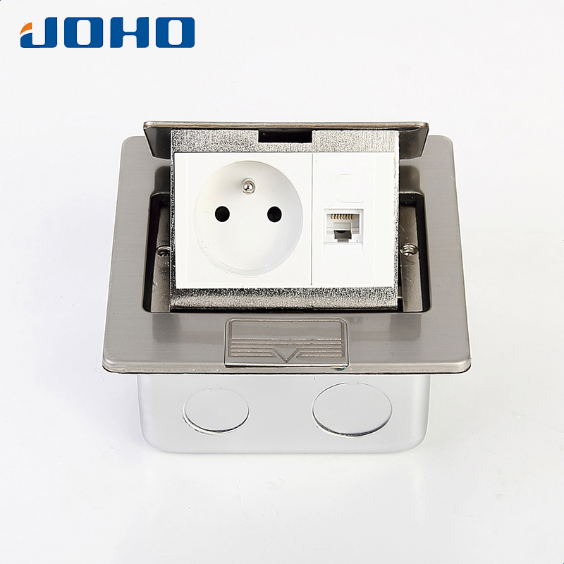 Stainless steel Fast Pop Up Electrical Floor Socket Box with European socket & RJ45 16A 250V fast shipping ats kpats 50 3 socket