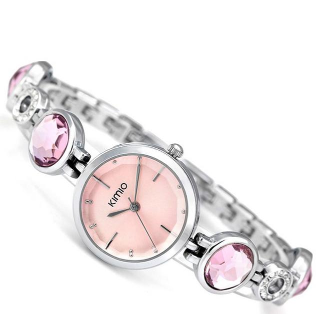 KIMIO Brand Simiple Woman Quartz Watches Luxury Ladies Crystal Black Big Gem Bracelet Wrist Watch For Women Christmas Gift