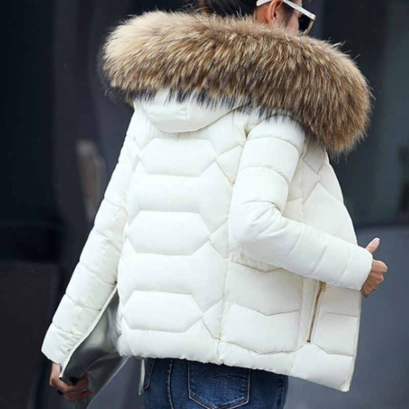 Winter Faux Fur Collar Short   Parkas   Loose Down Cotton Coat Women Hooded Jackets Pink/Black/Blue/Gray/White Burgundy Snow Outwear
