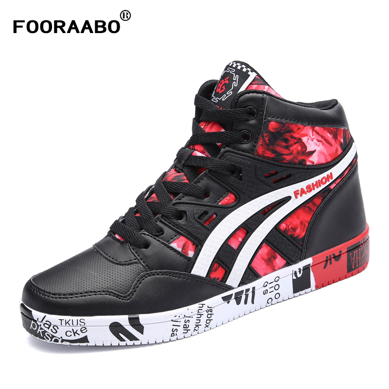 Fooraabo 2017 New Print Luxury Mens Casual Shoes Flat Autumn Winter Hip Hop High Top Men Sneaker PU Leather Shoes Big Size:38-45 цены онлайн