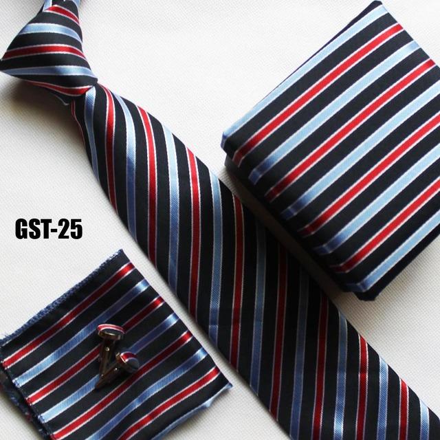 Venta caliente Corbatas partido conjunto trajes vestido pañuelo de bolsillo + mancuerna + caja de regalo + fashion stripes gravata ENVÍO GRATIS