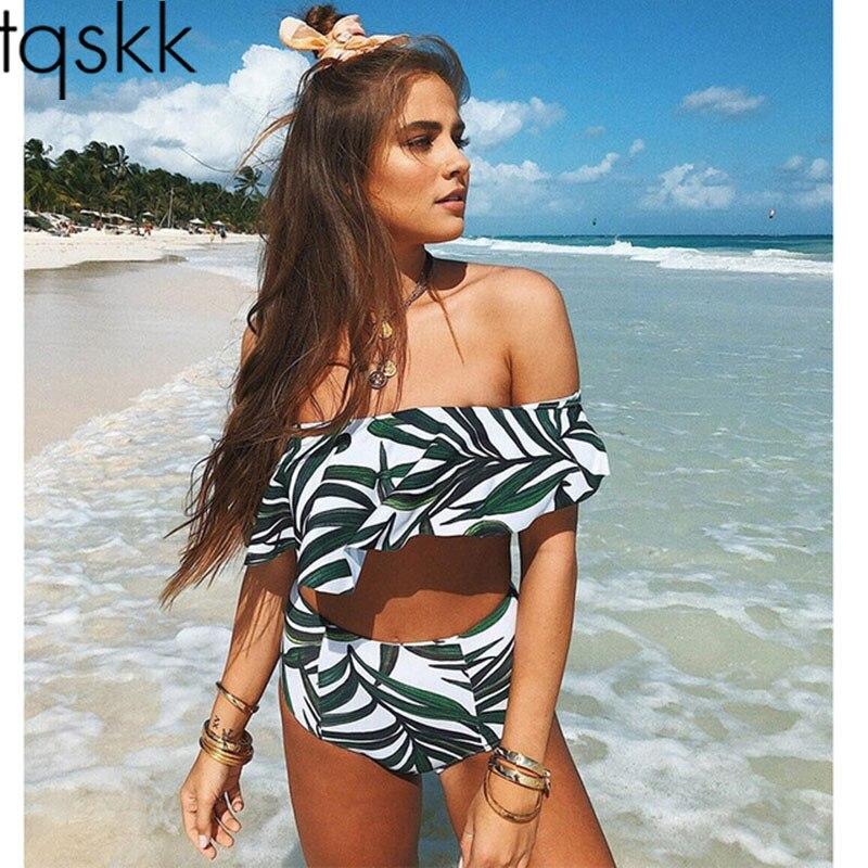 TQSKK 2019 Sexy High Waist Bikinis Women Swimsuit Off Shoulder Female Push Up Ruffle Bikini Set Swim Bathing Suit Biquini S-2XL
