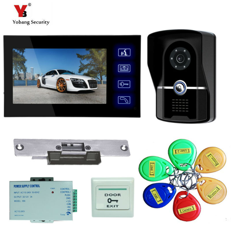 Yobang Security 7-inch touch screen video doorbell phone IR Indoor Monitor RFID Keyfob Home/Apartment Security Doorbell phone 19 inch infrared multi touch screen overlay kit 2 points 19 ir touch frame