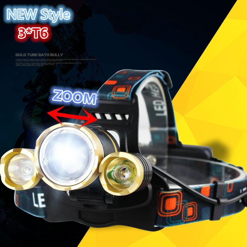 Νέο 3xCREE XM-L T6 Μεγάλο φωτιστικό LED 8000Lumens 4 τρόποι Φανός φανού επαναφορτιζόμενης κεφαλής προβολέα +18650 Φορτιστής μπαταρίας