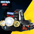 New 3xCREE XM-L T6 Zoomable LED Headlight 8000Lumens 4 Modes Headlamp Rechargeable Head Torch Flashlight +18650 Battery charger
