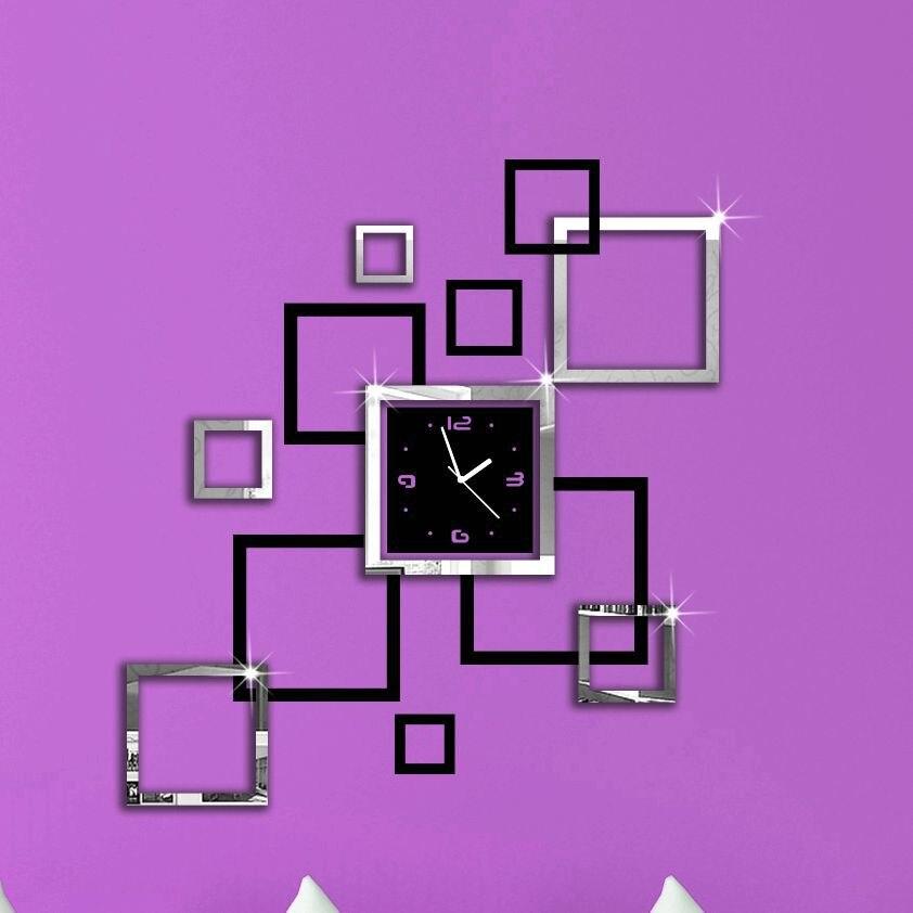 2016 New 3D DIY Mirror Wall Clock Modern Design Relogio De Parede