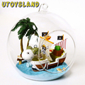 UTOYSLAND DIY Wooden One Piece Pirate Ship Sailboat 3D Miniature Toy Doll House Voice Control LED Light Glass Ball Kids Toy