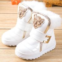 Fashion Children Boots Rabbit Fur Girls Snow Boots Waterproof PU Plush Booties Female Child Winter Warm